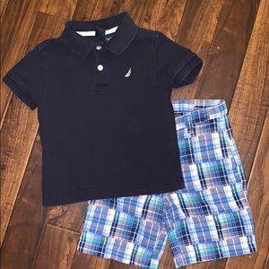Boys Nautica Outfit (polo & plaid shorts)